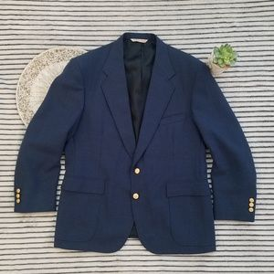 Stafford Blue Custom Gold Button Suit Jacket